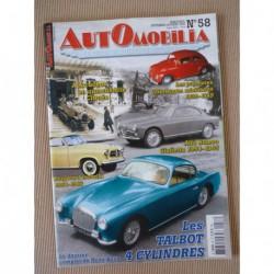 Automobilia n°58, Talbot 4 cyl., autochenilles Citroën, Ardex, Citroën DS Chapron, Borgward Isabella, Alfa Romeo Giulietta
