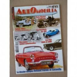 Automobilia n°63, Renault Floride et Caravelle, Hotchkiss 1965, Renault six roues, Fiat 1800 2300, Paris-Madrid 1903