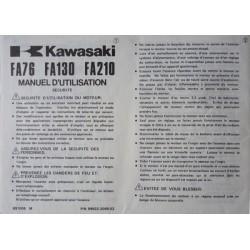 Kawasaki FA76, FA130, FA210, notice d'entretien