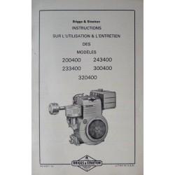Briggs & Stratton 200400, 243400, 233400, 300400, 320400, notice d'entretien