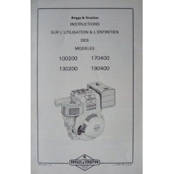 Briggs & Stratton 100200, 170400, 130200, 190400, notice d'entretien