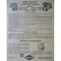 Briggs & Stratton séries 60100, 100200, 80200, 111200, 130200, notice d'entretien