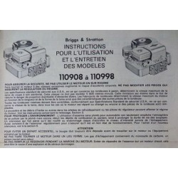 Briggs & Stratton 110908 à 110998, notice d'entretien