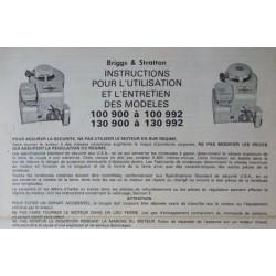Briggs & Stratton 100900 à 100992, 130900 à 130992, notice d'entretien