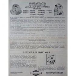 Briggs & Stratton séries 92500, 110900, 92900, 111900, 130900, notice d'entretien
