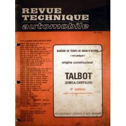 Temps de réparation gamme Simca Chrysler Talbot années 80 et 90