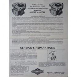 Briggs & Stratton 401700 à 401799, notice d'entretien