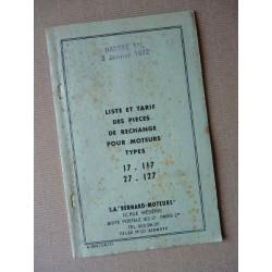 Bernard-Moteurs 17, 117, 27, 127, liste des pièces détachées originale