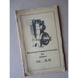 Bernard-Moteurs WD13, notice d'entretien et catalogue de pièces original