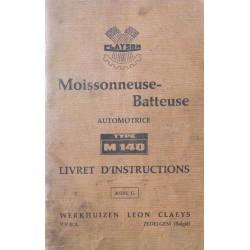 Clayson M140 moissonneuse-batteuse, notice d'entretien