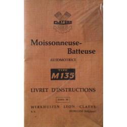 Clayson M135 moissonneuse-batteuse, notice d'entretien