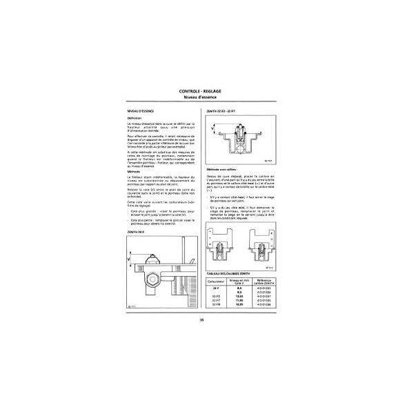 Carburateur Zénith pour Renault, manuel de réparation