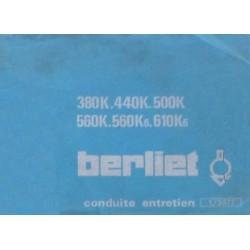 Berliet 380K, 440K, 500K, 560K, 560K6 et 610K6, notice d'entretien