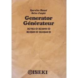 Iseki générateur IG751-D, IG1001-D, IG1501-D et IG2501-D, notice d'entretien
