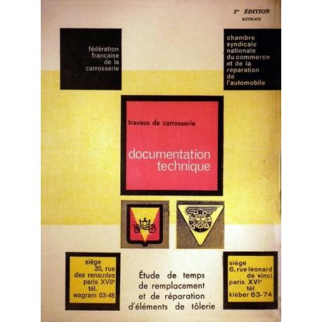 Voitures de tourismes Françaises des années 50-60, temps de réparation carrosserie