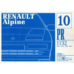 Alpine A310 V6 et A610, catalogue de pièces